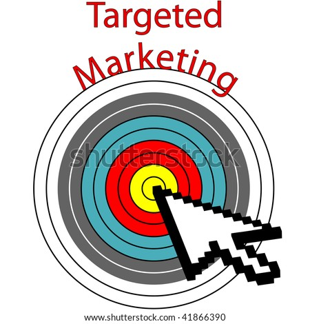 A pixel computer cursor icon clicks on targeted marketing bulls eye target. - stock photo