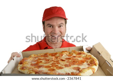 A pizza delivery man holding a delicious pepperoni pizza.  Isolated on White. - stock photo