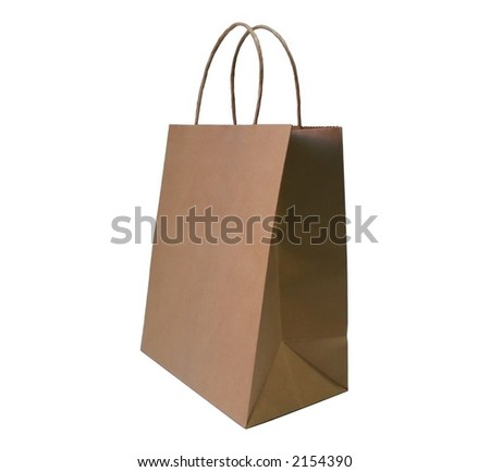 A plain brown shopping bag isolated on white. - stock photo