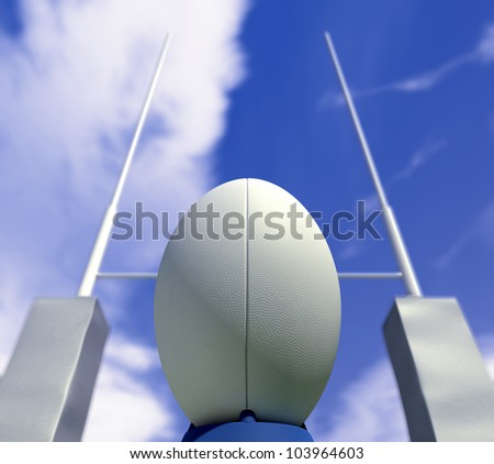 A plain white rugby ball on a kicking tee in front of some rugby posts ready to be converted - stock photo