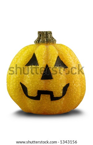 A plastic Halloween pumpkin. Isolated on white with path. - stock photo
