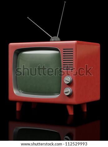 A Plastic retro Television on a black background - stock photo