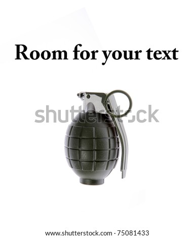 """a plastic toy """"hand grenade"""" isolated on white with room for your text - stock photo"""
