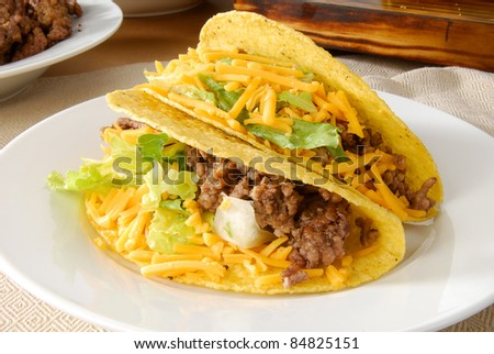 A plate of fresh beef tacos - stock photo