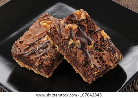 A plate of gourmet chocolate brownies - stock photo