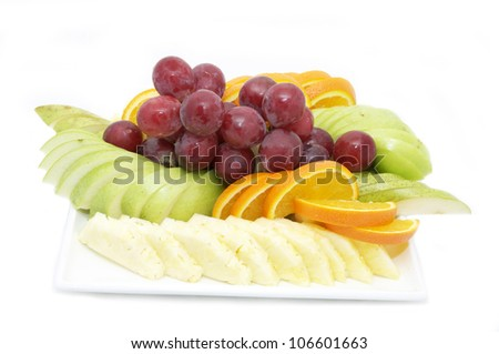 A plate of ripe fruit - stock photo
