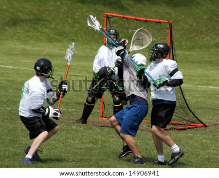 A player attempting a shot on goal. - stock photo