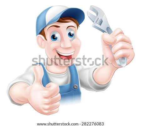A plumber or mechanic in baseball cap holding a spanner and giving a thumbs up - stock photo