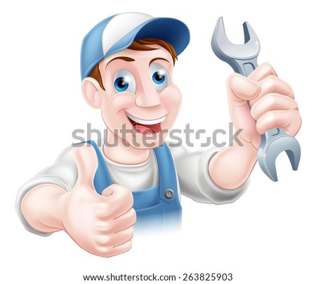 A plumber or mechanic in hat and overalls holding a spanner and giving a thumbs up - stock photo