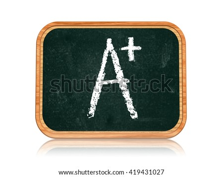 A plus - chalk text on 3d isolated wooden blackboard banner, learning success concept - stock photo