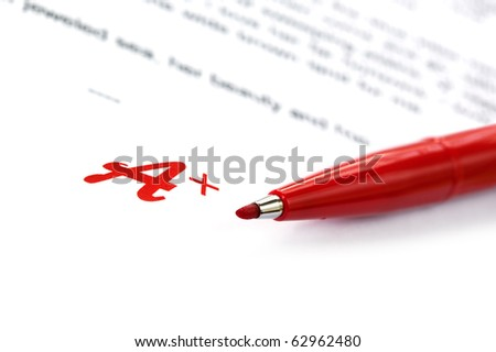 A Plus grading on a paper, with red marking pen. - stock photo