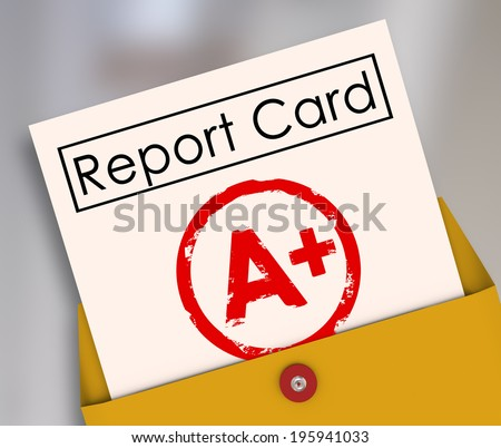 A Plus Student Report Card Grade Class Rating Review Evaluation - stock photo
