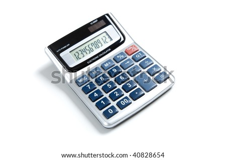 A pocket calculator on a white background - stock photo