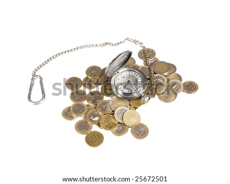 A pocket watch in a pile of euro coins - stock photo