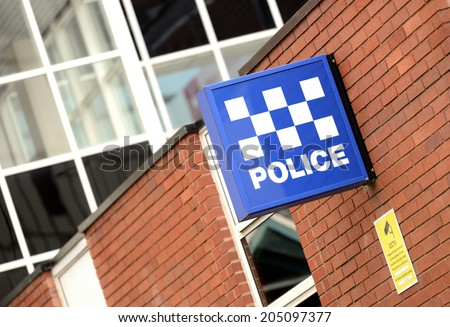 A Police Station Sign  - stock photo