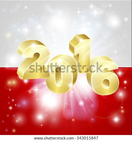 A Polish flag with 2016 coming out of it with fireworks. Concept for New Year or anything exciting happening in Poland in the year 2016. - stock photo