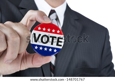 A politician is promoting the right to vote in political elections in the USA. - stock photo