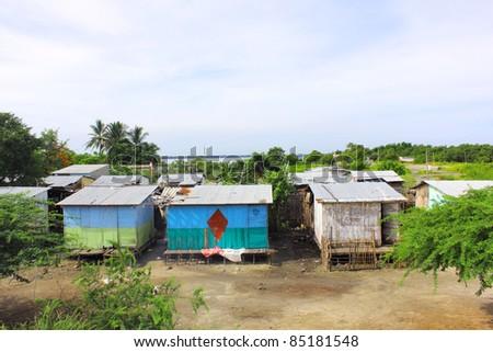 A poor area in Santa marta Colombia - stock photo