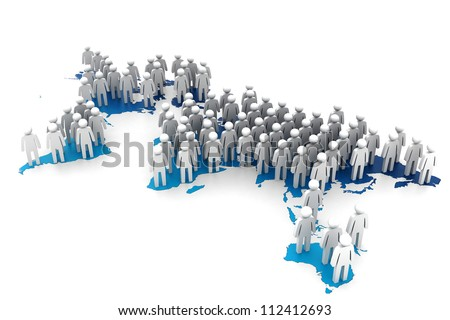 A population of global people  on world map - stock photo