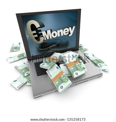 A portable computer with a money written on the screen, with the keyboard cover in hundred euro bills - stock photo