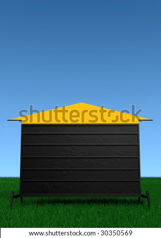 A portable outdoor sign pointing up. - stock photo