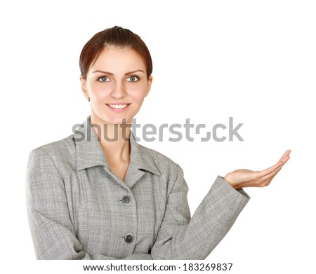 A portrait business woman shows something, isolated on white background - stock photo