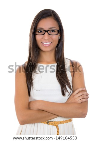 A portrait of a beautiful young businesswoman, secretary or student wearing black glasses, smiling looking at you, isolated on a white background  - stock photo
