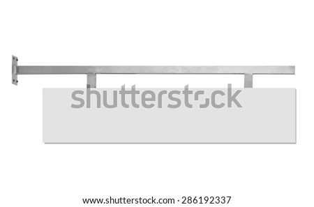 A portrait of a blank billboard or sign for advertisement isolated over white background - stock photo