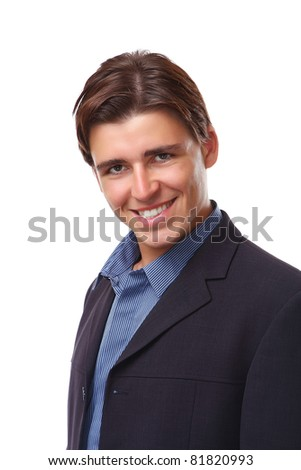 A portrait of a businessman smiling, isolated on white - stock photo