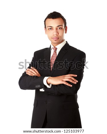 A portrait of a businessman standing isolated on white background - stock photo