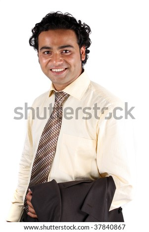 A portrait of a handsome young Indian businessman in a traditional attire, on white studio background. - stock photo