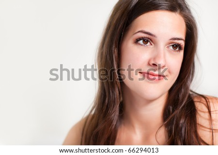 A portrait of a happy beautiful girl - stock photo
