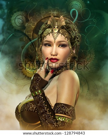 a portrait of a lady with a golden headdress - stock photo
