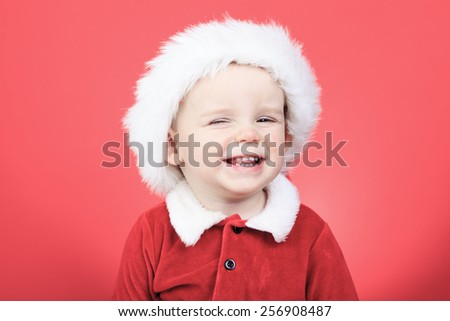 A Portrait of a little boy on christmas time - stock photo