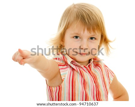 A portrait of a little girl, showing his finger forward; isolated on the white background - stock photo