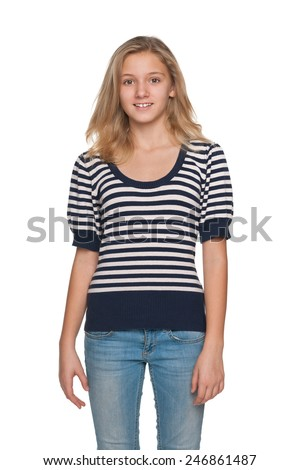 A portrait of a pretty blonde teen girl on the white background - stock photo