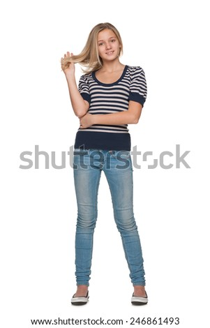A portrait of a pretty teen girl against the white background - stock photo