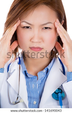 A portrait of a stressed medical student - stock photo
