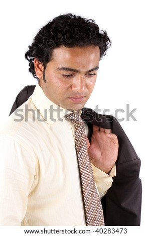 A portrait of a worried Indian businessman, on white studio background. - stock photo
