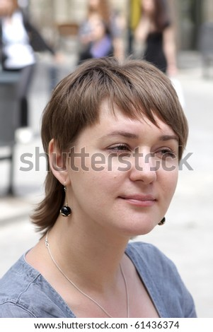 A portrait of a young woman - stock photo