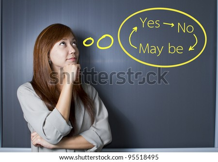 A portrait of a young woman trying to make a decision over white background - stock photo