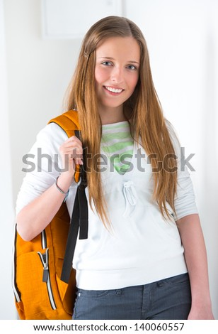 A portrait of an Caucasian college student on campus - stock photo