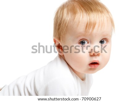 A portrait of an innocent boy - stock photo