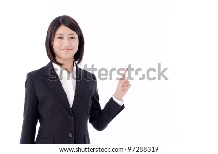 a portrait of asian businesswoman pointing isolated on white background - stock photo