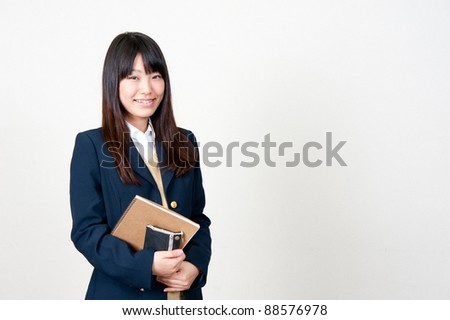 a portrait of asian high schoolgirl - stock photo