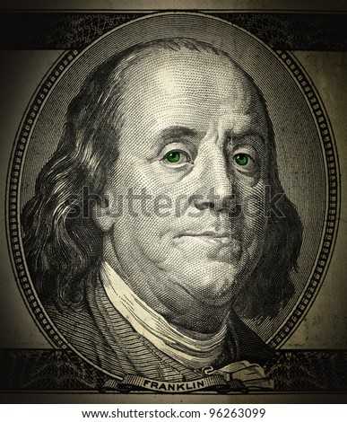 a portrait of Franklin in the grunge style close-up, with green eyes - stock photo