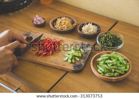 A portrait of Ingredients, preparing to cook stir-fry vegetables - stock photo