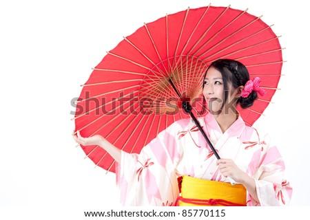 Japanese Woman Umbrella Japanese Kimono Woman With