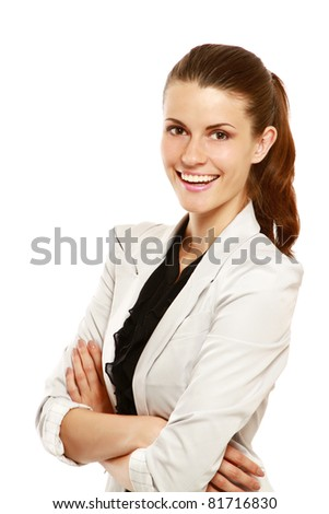 A portrait of smiling businesswoman, isolated on white - stock photo