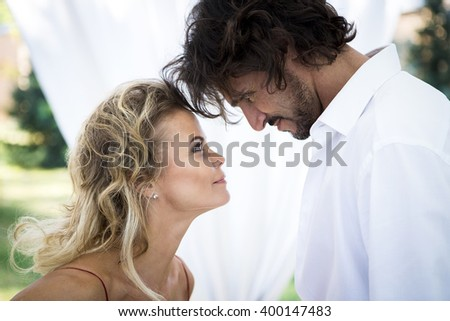 A portrait of the couple. A man and a woman. Love - stock photo